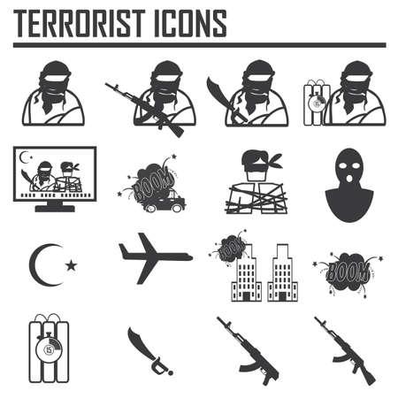 hijacker: Secuestrador coche Avi�n Terrorista bomba, vector Icono Clipart