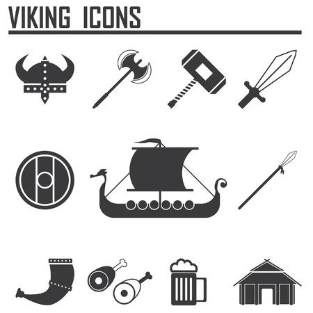 Vikings and Scandinavian items, the food, weapons flat icon set Illustration