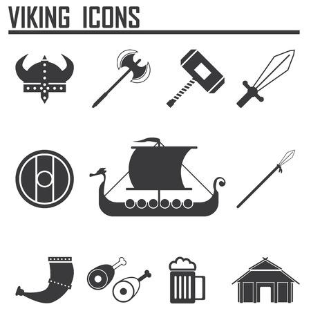 viking ship: Vikings and Scandinavian items, the food, weapons flat icon set Illustration