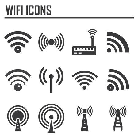 Vectvor black wireless icons set Vector
