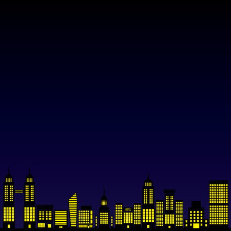 city  on mid night blue background,vector Vector