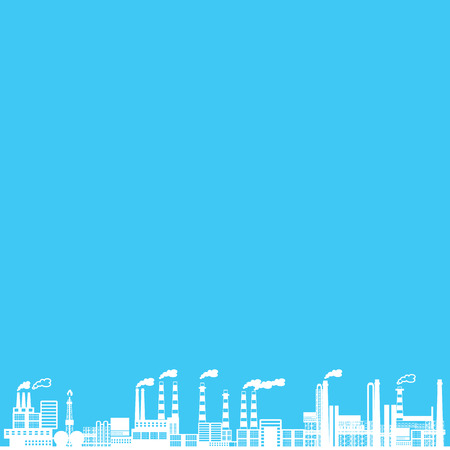 co2: industry on blue background
