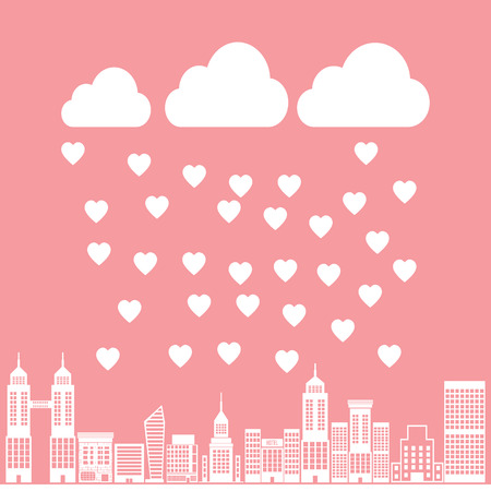 Seamless vintage style clouds love rain illustration background pattern in vector Vector