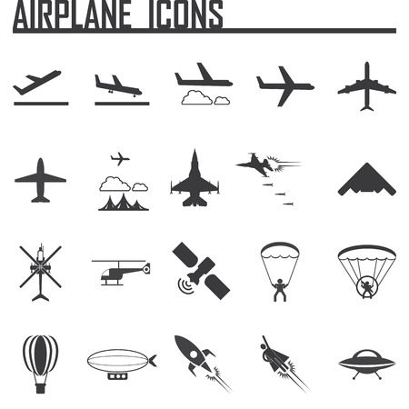 airplane icons set