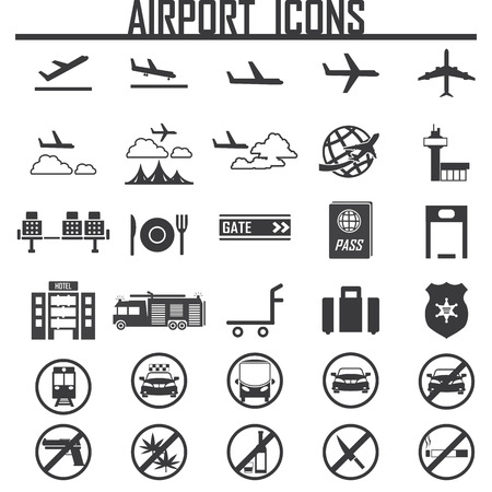 airplane, airport  icon, isolated, on white background. Exclusive Symbols Vector