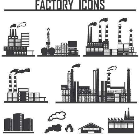 bedrijfshal: Industrieel gebouw fabriek Stock Illustratie
