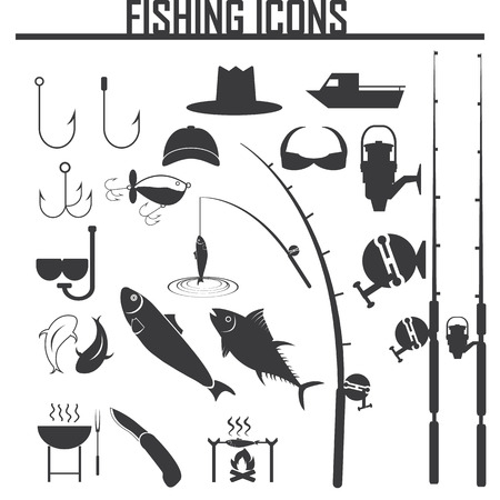 fishing net: Fishing icons set