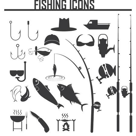 pescando: Iconos de pesca establecidas Vectores