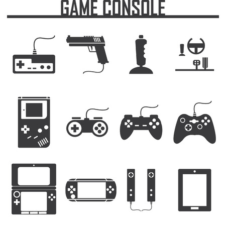Game console icons set