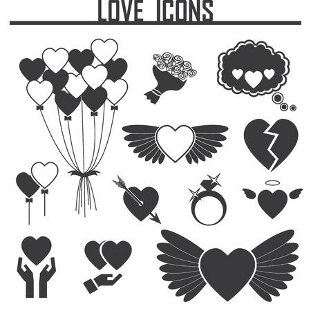loving: black loving heart icon Illustration