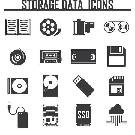 Vector data storage icons set