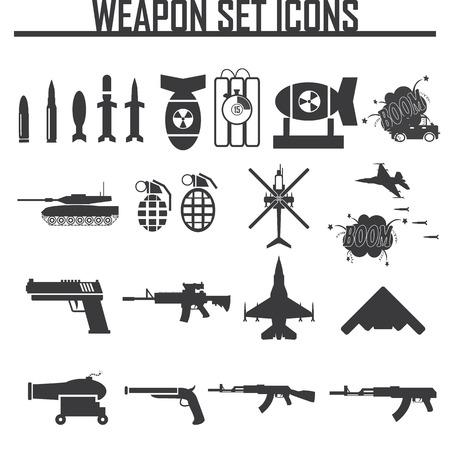 war tank: Iconos de establecen las armas, ilustraci�n vectorial Vectores