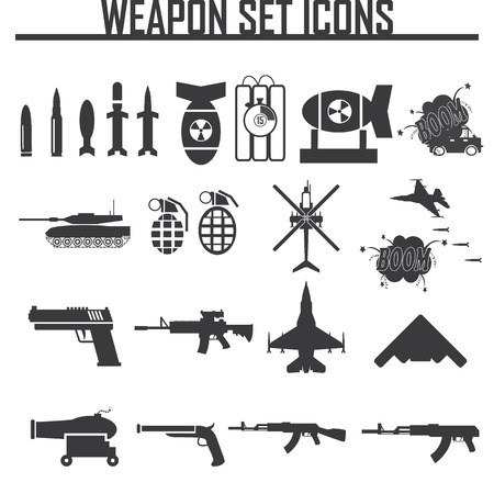 war: Icons set weapons, vector illustration
