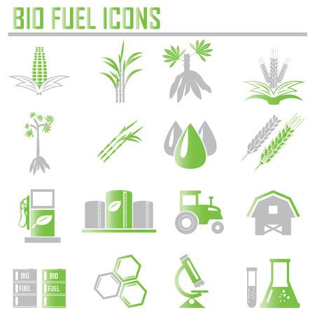 Vecteur biocarburants raffinerie végétale, biodiesel, icônes