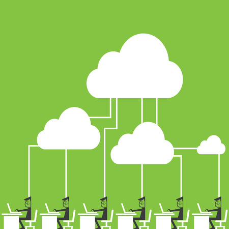 Cloud computing Businessmen connecting to cloud storage via their mobile devices. Vector