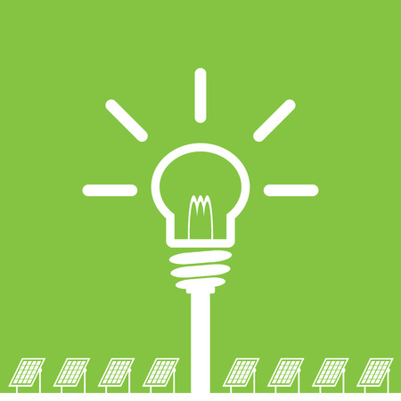 clean energy: solar panel with bulb, clean energy concept