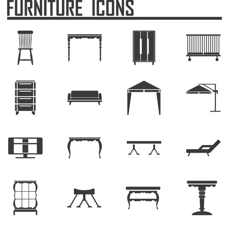 furniture icon set Ilustrace