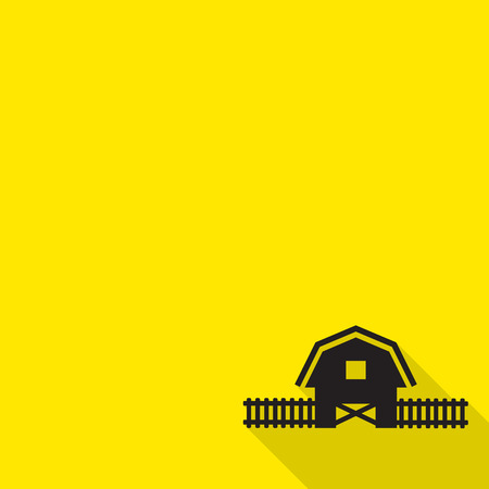 Barn house icon with long shadow. Vector
