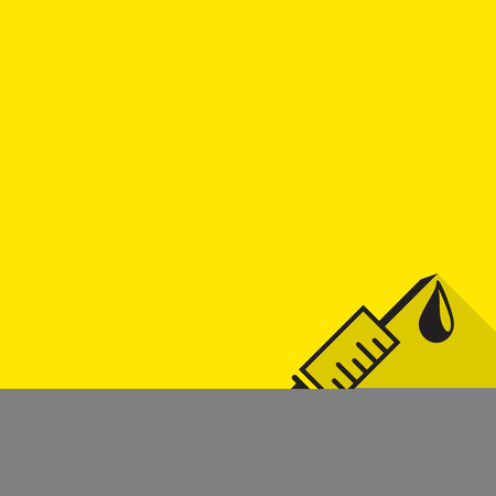 prick: Hospital Treatment Symbol Medical Syringe Prick Inoculation Icon with long shadow.