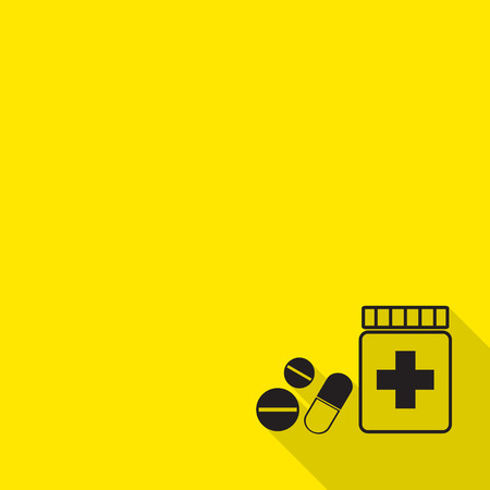 Prescription pill bottle spilling pills icon with long shadow. Иллюстрация