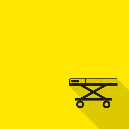 stretcher: stretcher automatic loading ambulance, wheelchair icon with long shadow. Illustration