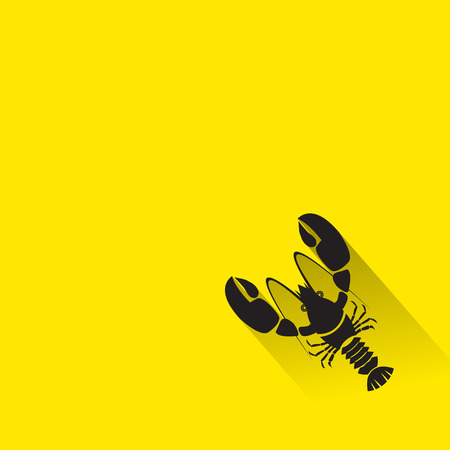 lobster: Vector Flat Icon of lobster. Isolated on stylish color background. Element with a long shadow. Illustration