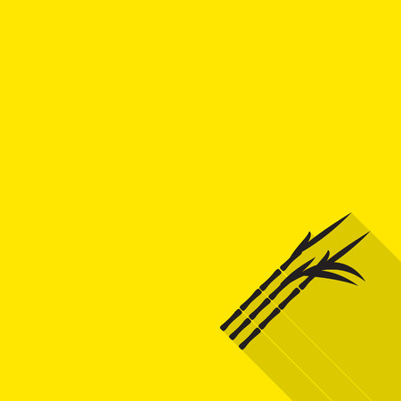 canne a sucre: le sucre de canne ic�ne avec une longue ombre sur fond jaune.