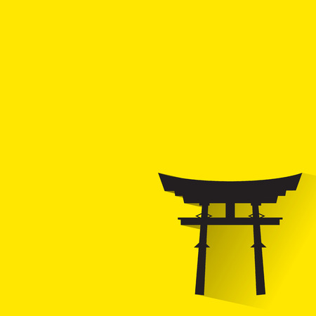 torii: Japan Gate - Torii gate icon with long shadow. Illustration