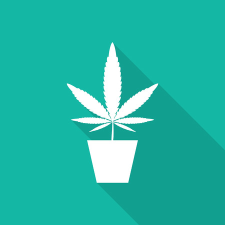 marijuana, Cannabis icon with long shadow. Ilustrace