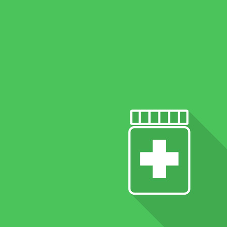 pill prescription: Prescription pill bottle spilling pills icon with long shadow. Illustration