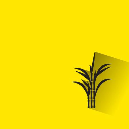 sugar cane icon with long shadow. Illustration