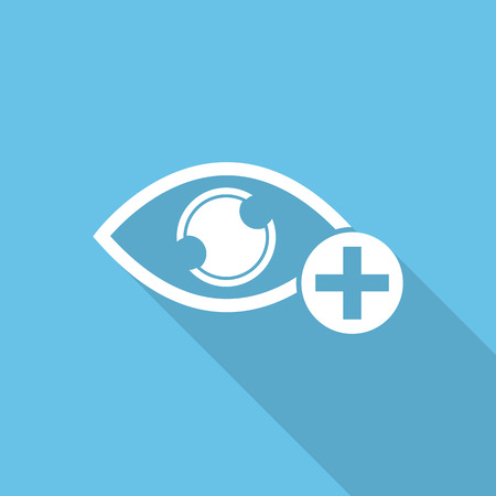 medical evaluation: optical icons, ophthalmology icons flat with long shadow.