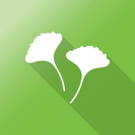 ginkgo flat icon with long shadow. Çizim