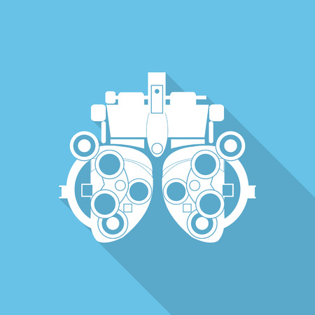 Optometrist dioptrie flat icoon met lange schaduw. Stock Illustratie