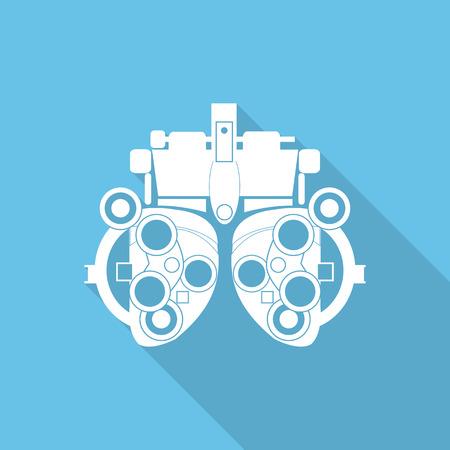 diopter: Optometrista icono plana dioptr�as con una larga sombra.