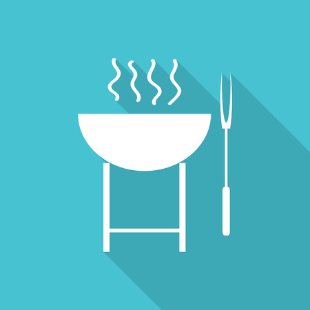 barbecue stove: barbecue grill stove flat icon with long shadow.