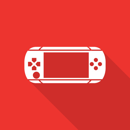 psp: game console flat icon with long shadow.