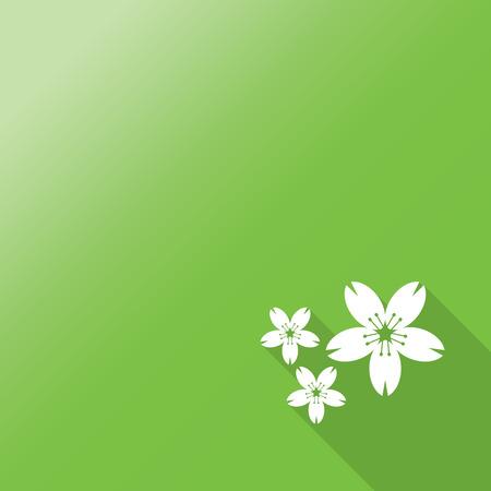 flor de sakura: Flor de cerezo. Icono plano de la flor de Sakura con una larga sombra.