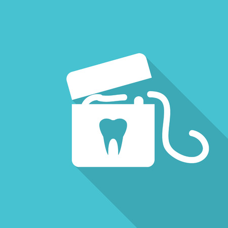 floss: dental floss flat icon with long shadow.