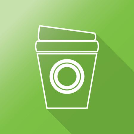 Disposable coffee cup icon with illustration flat design with long shadow Иллюстрация