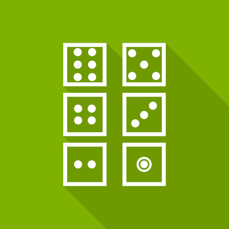 ardor: dice icon with long shadow. flat style illustration