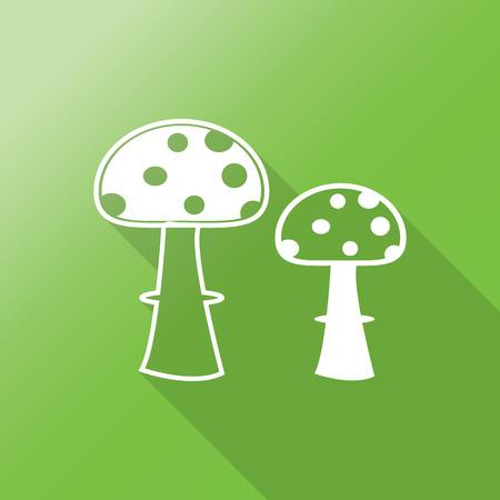 mushroom flat icon with long shadow. Vector