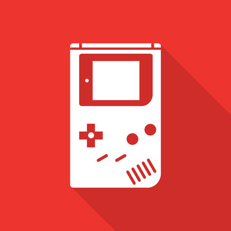 Game console flat icon with long shadow.