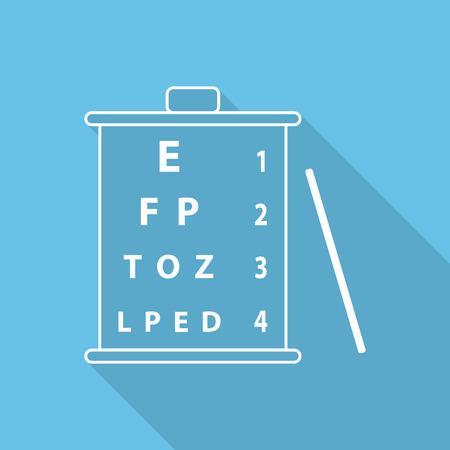 eye test: Snellen eye test chart flat icon with long shadow.