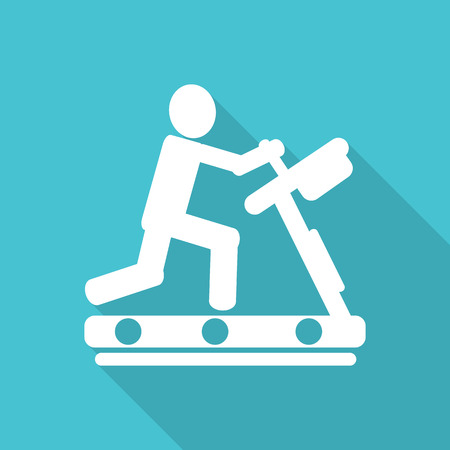 treadmill flat icon with long shadow. Illustration