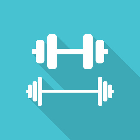 barre: Dumbbells flat icons with long shadow.