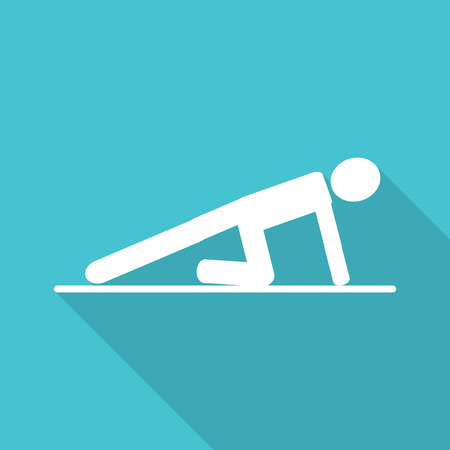 push up flat icon with long shadow. Illustration