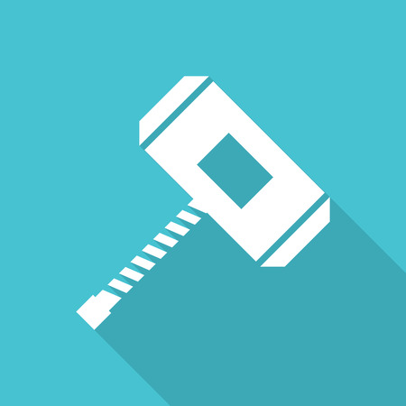 Hammer flat icon with long shadow. Vector