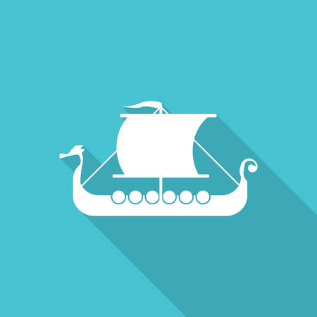 viking ship flat icon with long shadow. Vector