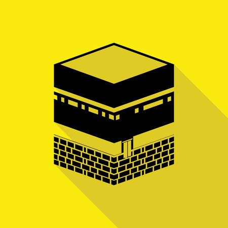 holy: Holy Kaaba in Mecca Saudi Arabia flat icon with long shadow.